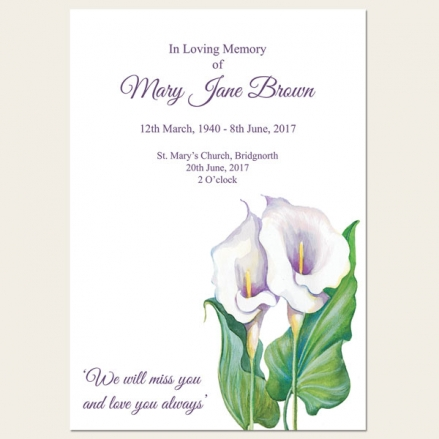 Funeral Order of Service - Calla Lilies