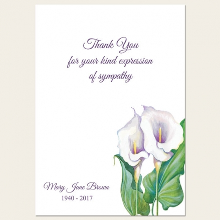 Funeral Thank You Cards - Calla Lilies