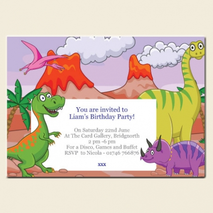 Personalised Kids Birthday Invitations - Cartoon Dinosaurs - Pack of 10