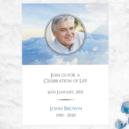 Funeral Celebration of Life Invitations - Above the Clouds