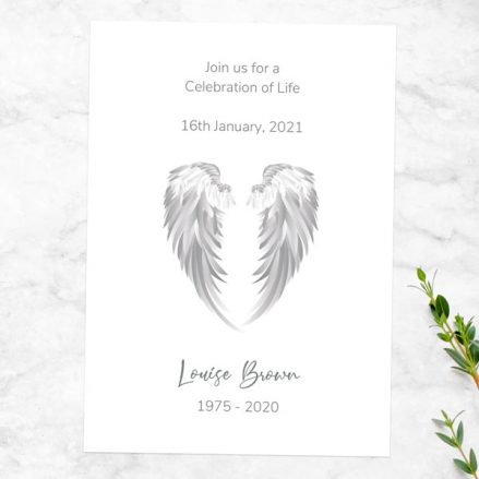 Funeral Celebration of Life Invitations - Angel Wings