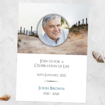 Funeral-Celebration-of-Life-Invitations-Beach-Path-Photo