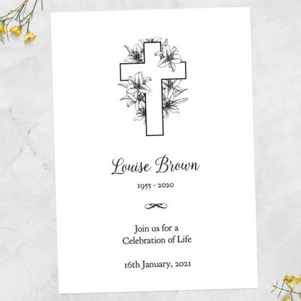 funeral-celebration-life-invitations-cross-lilies