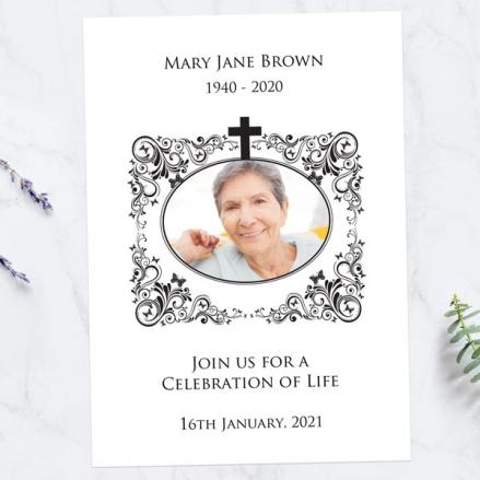 Funeral-Celebration-of-Life-Invitations-Ornate-Scrolls-&-Butterflies