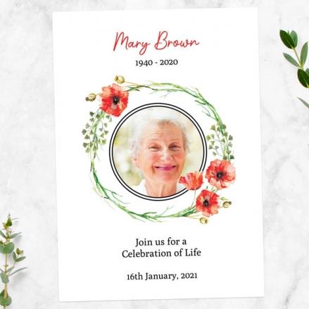 Funeral-Celebration-of-Life-Invitations-Poppy-Garland-Photo