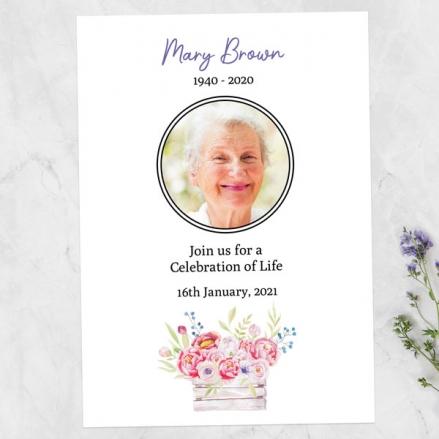 Funeral Celebration of Life Invitations - Vintage Garden Flowers Photo