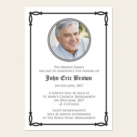 Funeral Announcement Cards - Celtic Border