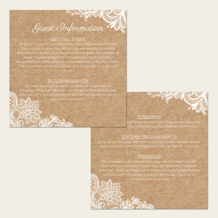 Rustic Lace Pattern - Guest Information