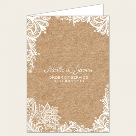 Rustic Lace Pattern - Wedding Order of Service