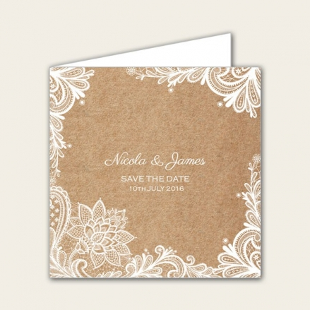 Rustic Lace Pattern - Save the Date Cards