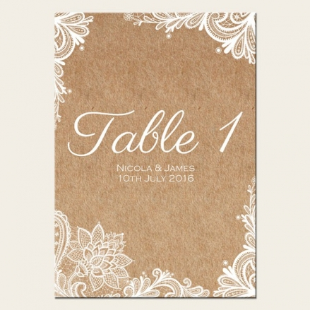 Rustic Lace Pattern - Table Name/Number