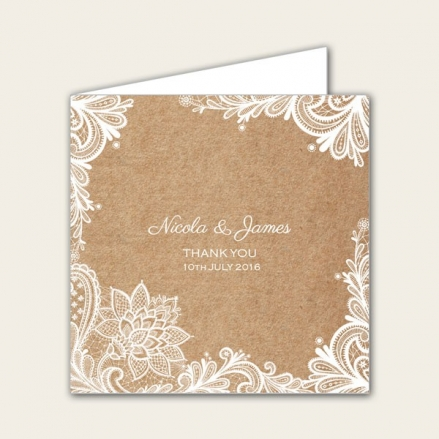 Rustic Lace Pattern - Wedding Thank You Cards