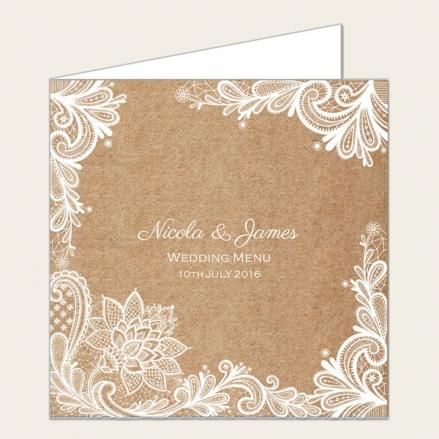 Rustic Lace Pattern - Wedding Menus