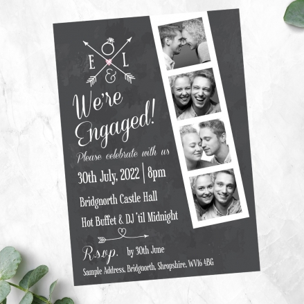 Engagement Party Invitations - Chalkboard Photo Booth