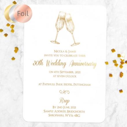 30th Foil Wedding Anniversary Invitations - Champagne Fizz