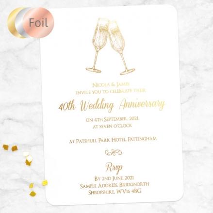 40th Foil Wedding Anniversary Invitations - Champagne Fizz