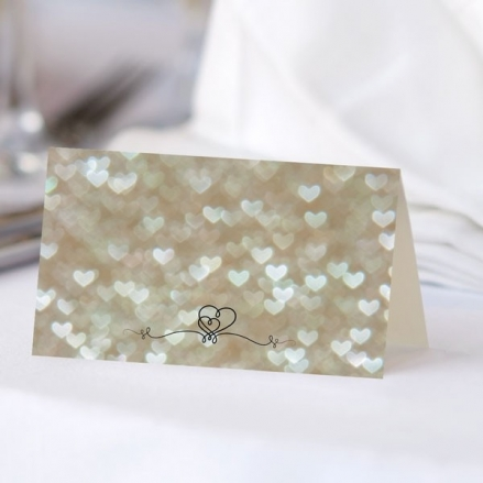 Champagne Heart Pattern - Ready to Write Wedding Place Cards