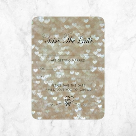 Champagne Heart Pattern - Ready to Write Save the Date Cards