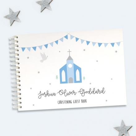 Cute-Blue-Church-Christening-Guest-Book