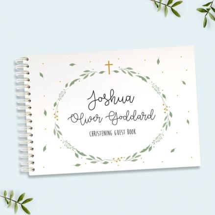 Boys Foliage Wreath - Christening Guest Book