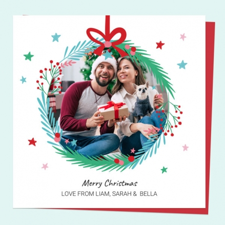 personalised-single-christmas-card-festive-brights-photo-wreath