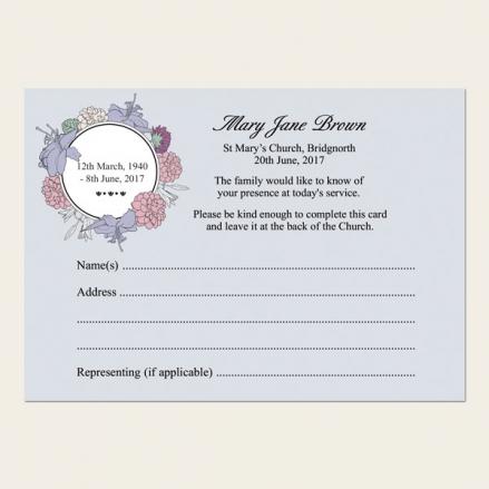 Funeral Attendance Cards - Circular Flower Border