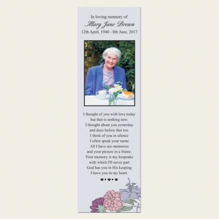 Funeral Bookmark - Circular Flower Border