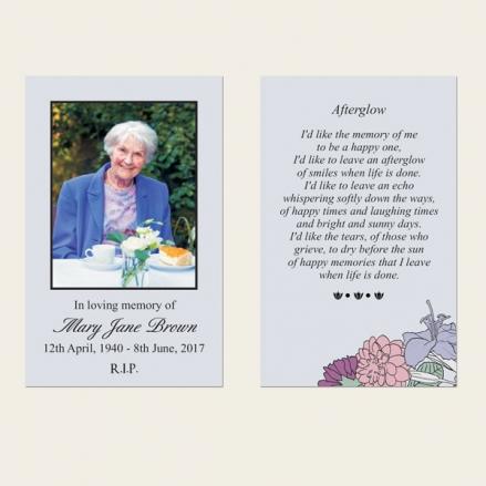 Funeral Memorial Cards - Circular Flower Border
