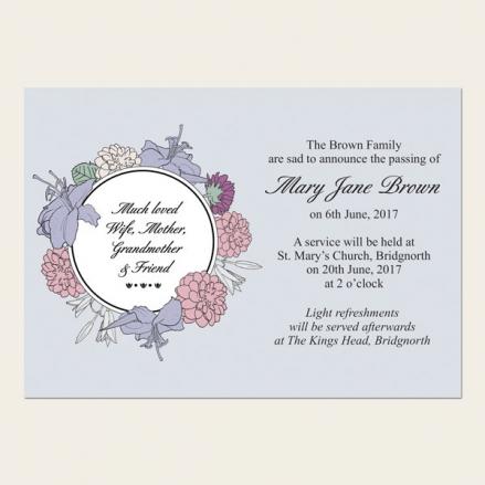 Funeral Announcement Cards - Circular Flower Border
