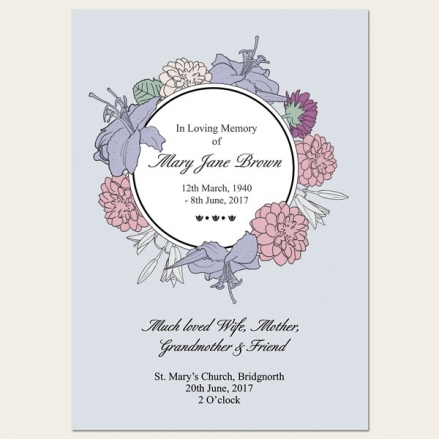 Funeral Order of Service - Circular Flower Border
