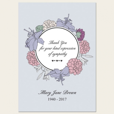 Funeral Thank You Cards - Circular Flower Border