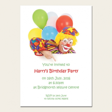 Personalised Kids Birthday Invitations - Clown Party - Pack of 10