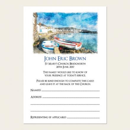 Funeral Attendance Cards - Coastal Harbour Scene
