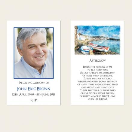 Funeral Memorial Cards - Coastal Harbour Scene