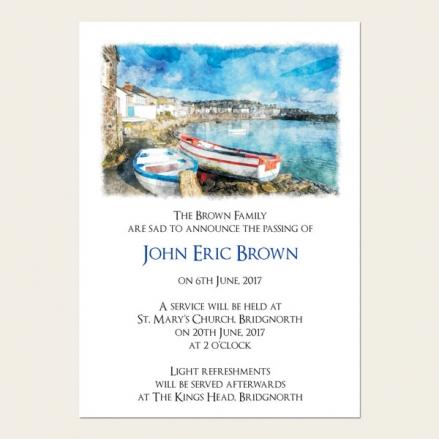 Funeral Announcement Cards - Coastal Harbour Scene
