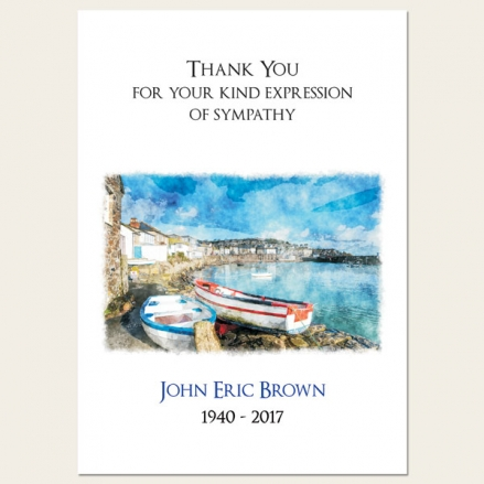 Funeral Thank You Cards - Coastal Harbour Scene