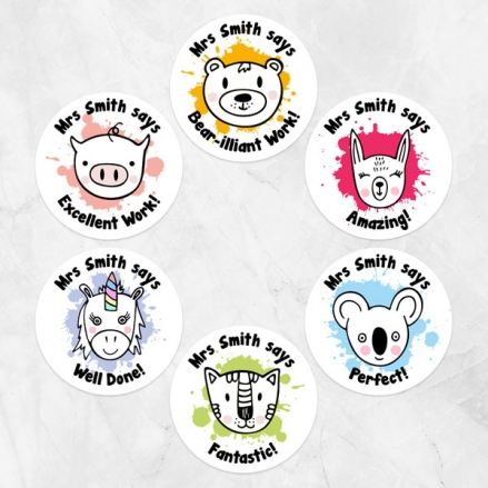 Colourful Animals - Teacher Stickers - Pack of 48