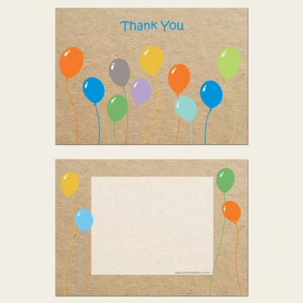 Ready to Write Kids Thank You Cards - Colourful Balloons
