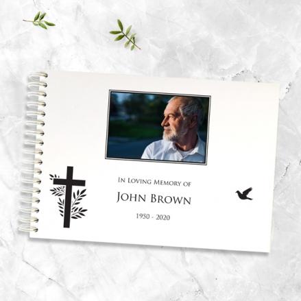 Cross & Flying Bird Photo - Condolence Guest Book