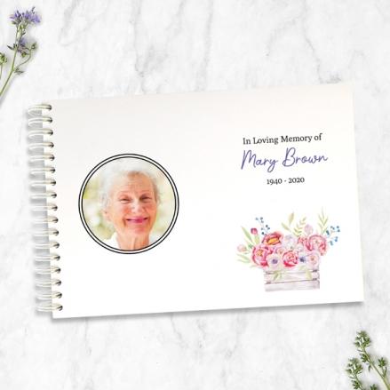 Vintage Garden Flowers Photo - Condolence Guest Book