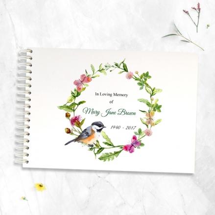 Watercolour-Bird-&-Butterflies-Condolence-Guest-Book
