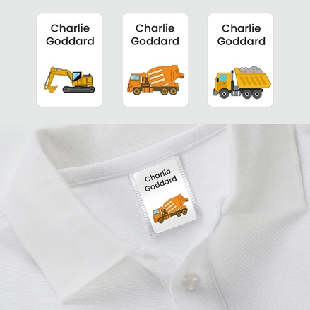 No Iron Personalised Stick On Clothing Name Labels - Construction - Mixed Pack of 56