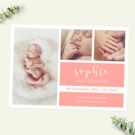 Baby Announcement Cards - Coral Photo Trio - Pack of 10