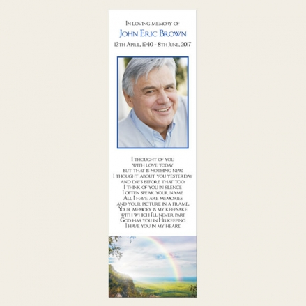 Funeral Bookmark - Country Landscape with Rainbow