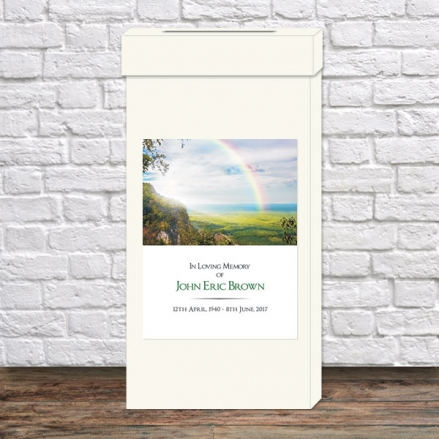 Funeral Post Box - Country Landscape With Rainbow