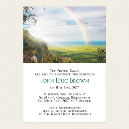 Funeral Announcement Cards - Country Landscape with Rainbow