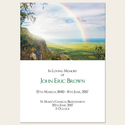 Funeral Order of Service - Country Landscape with Rainbow