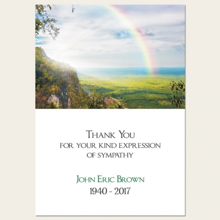 Funeral Thank You Cards - Country Landscape With Rainbow