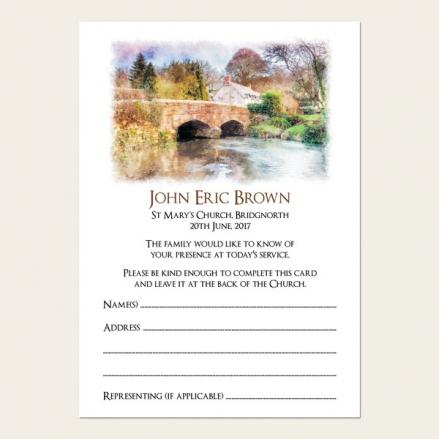 Funeral Attendance Cards - Watercolour River Scene