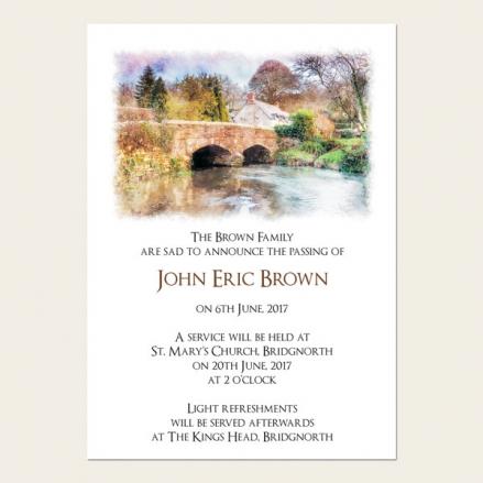 Funeral Announcement Cards - Watercolour River Scene